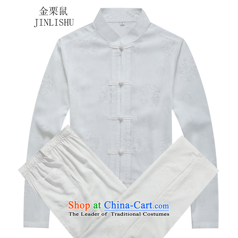 Kanaguri autumn new middle-aged men and a long-sleeved Tang Dynasty Package white kit?M