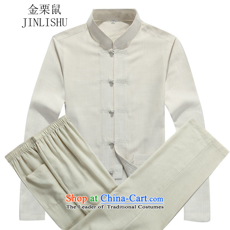 Kanaguri mouse autumn new Tang dynasty in older men long-sleeved Tang Dynasty Package beige?XXXL Kit