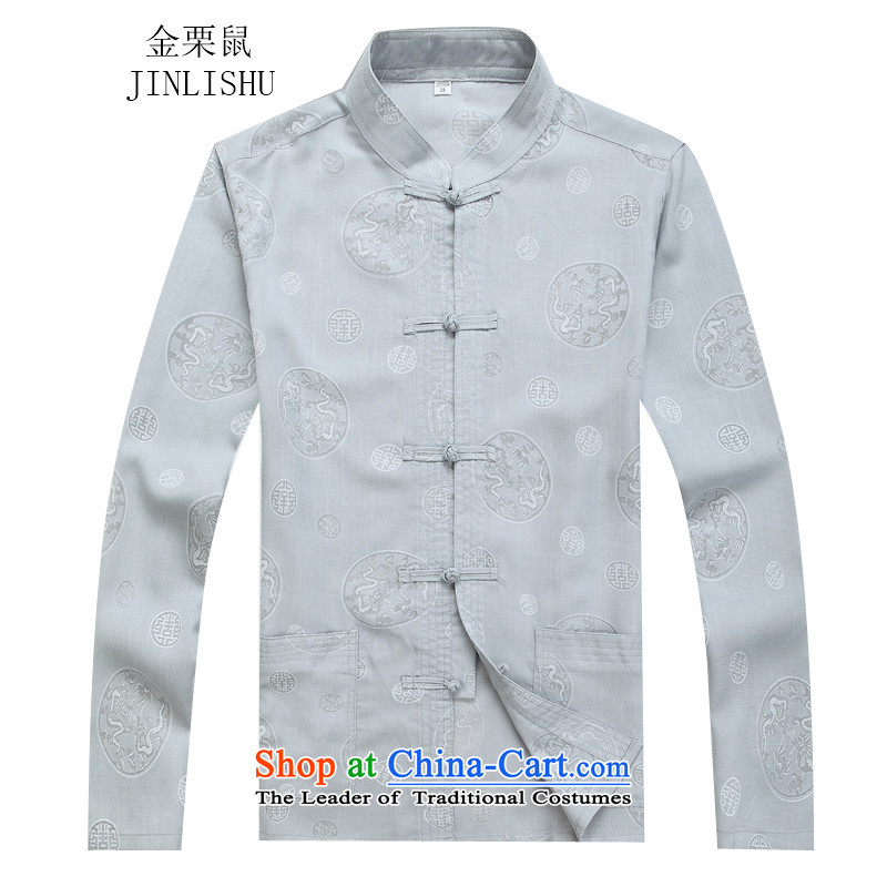 Kanaguri mouse autumn new Tang dynasty Long-sleeve Kit Man Tang dynasty gray suit M kanaguri mouse (JINLISHU) , , , shopping on the Internet