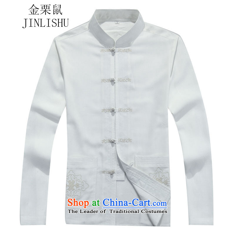 Kanaguri mouse autumn new Tang dynasty in older men long-sleeved Tang Dynasty Package white shirt?XXL