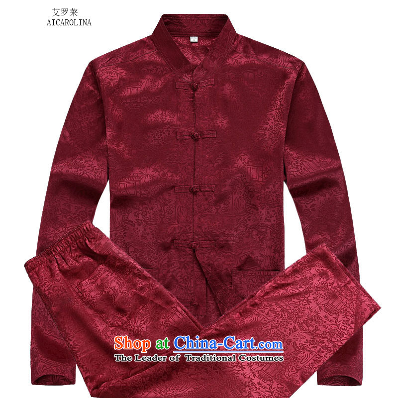 Hiv Rollet autumn and winter middle-aged men Tang dynasty China wind on the Riverside Tang Dynasty Package red kit�XXL