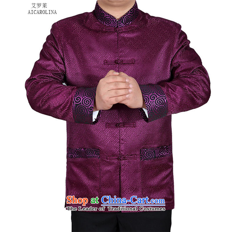 Rollet HIV from older men Tang casual ethnic Tang blouses purple聽XL