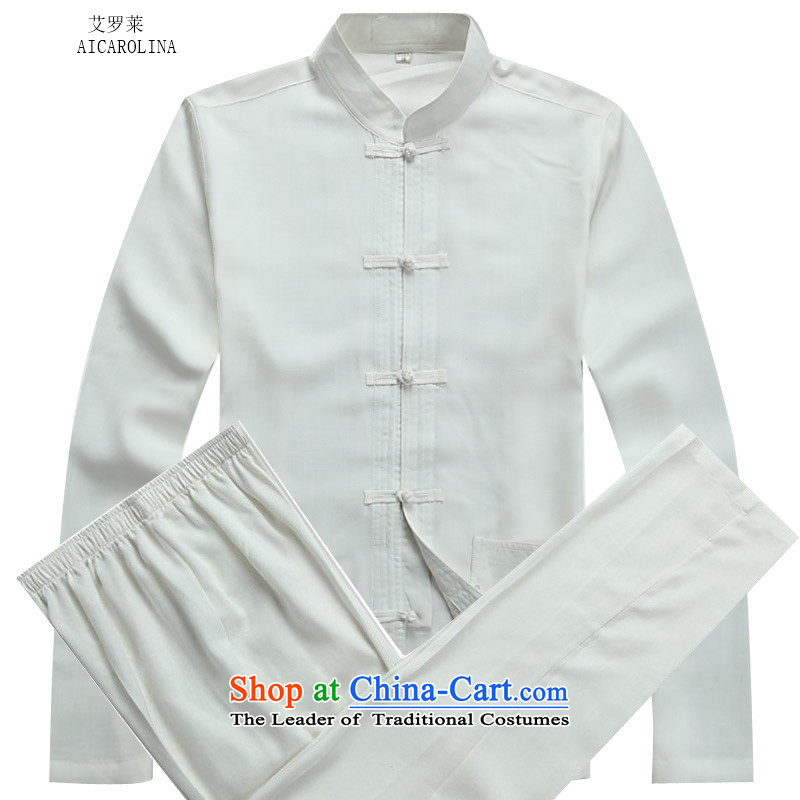 Hiv Rollet autumn and winter in older men China wind linen men long-sleeved Tang Dynasty Package White Kit?   XL