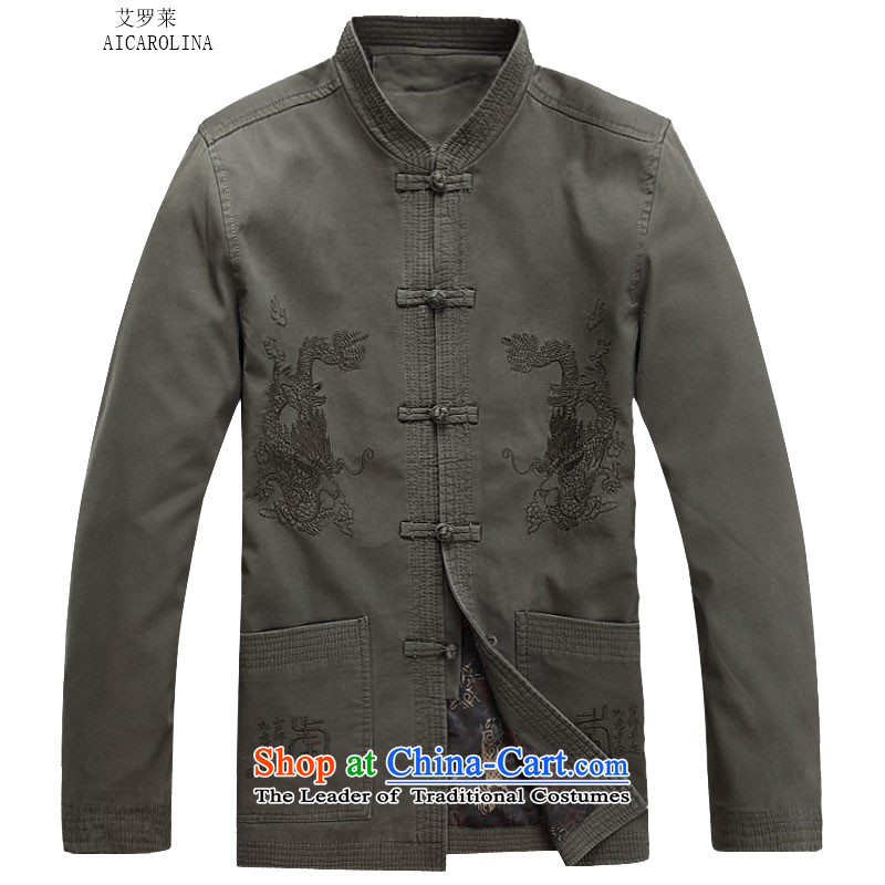 Hiv Rollet 2015 autumn and winter new sand washing cotton Ssangyong in elderly men Tang jacket pale green聽M
