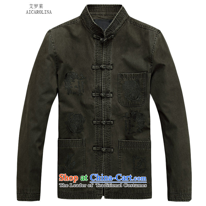 Hiv Rollet men Tang jackets spring long-sleeved shirt collar male China wind from older festive holiday gifts?3 color?L