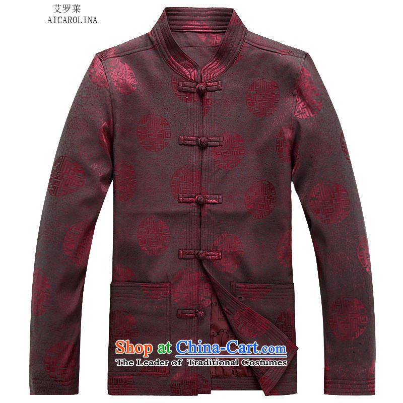 Hiv Rollet spring and autumn_, Tang dynasty older men and packaged men Chinese thick jacket of older persons in long-sleeve sweater in Tang Dynasty Han-red T-shirt聽L
