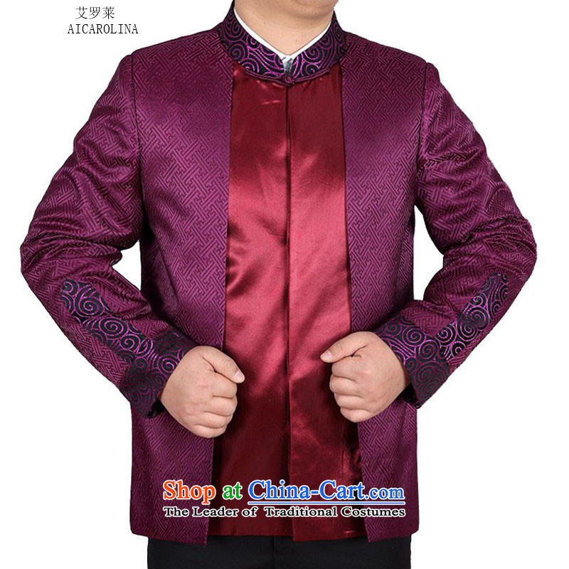 Hiv Rollet spring and autumn in new stylish replacing older father replacing Mock-neck stamp Tang jackets purple�XXL