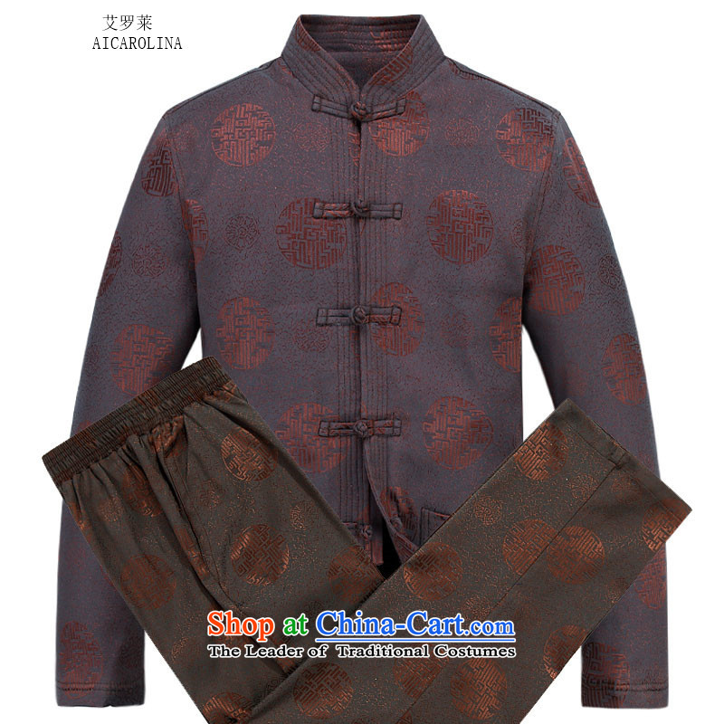 Hiv Rollet Men long-sleeved thick kit autumn and winter new products in Chinese tunic collar older Tang Dynasty Package Brown Kit聽XL