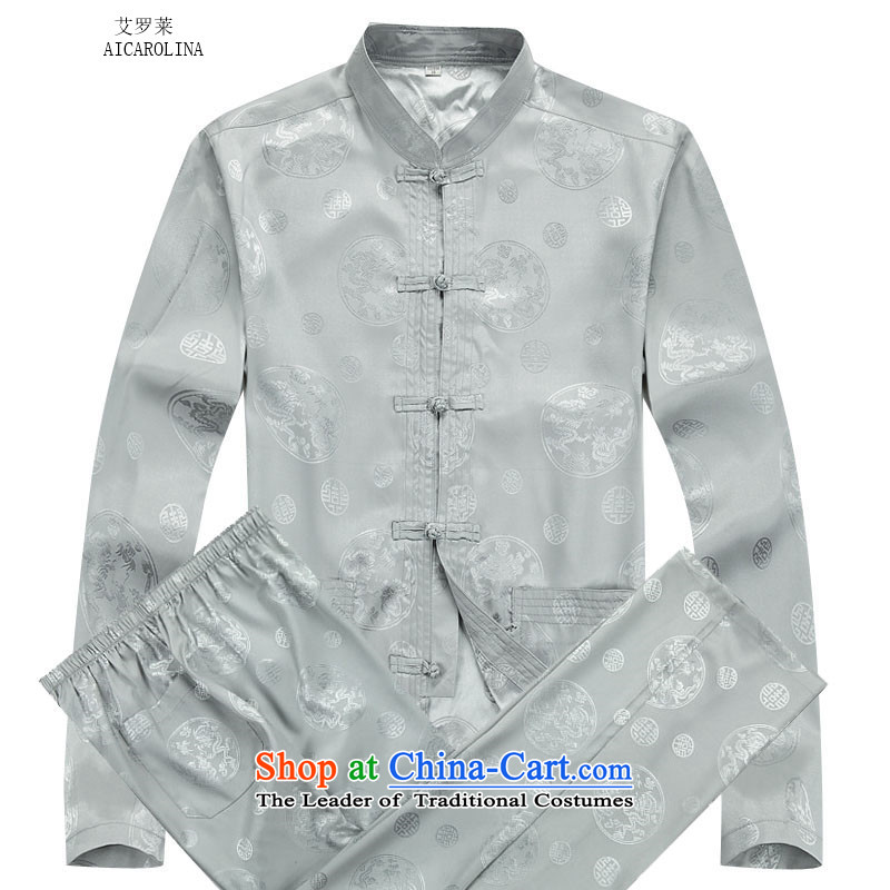 Rollet HIV from older men fall and winter round dragon long-sleeved shirt Tang dynasty China Wind Pants Kit gray suit�S
