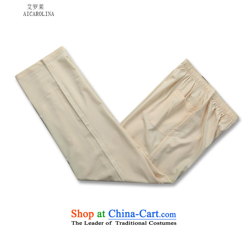 Hiv Rollet autumn and winter men thin cotton long-sleeved Tang dynasty men elderly clothing kit beige pants?S