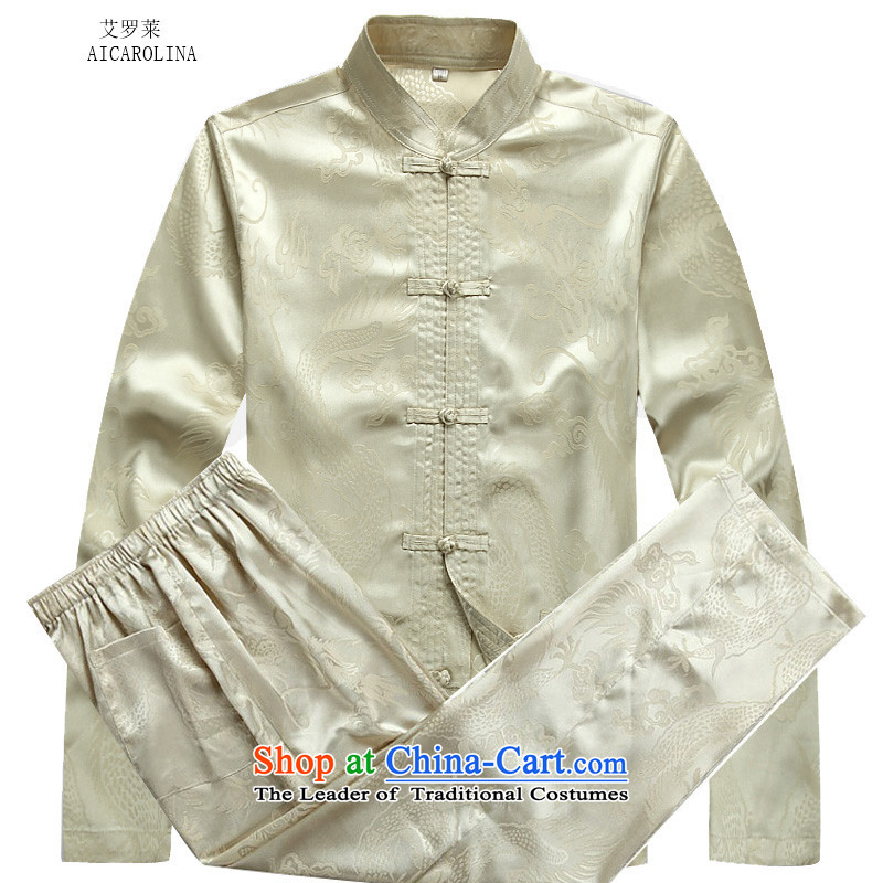 Hiv Rollet autumn and winter in older Mock-neck leisure long-sleeved Tai Lung Tang Dynasty Package xl father loose coat beige kit�XXL