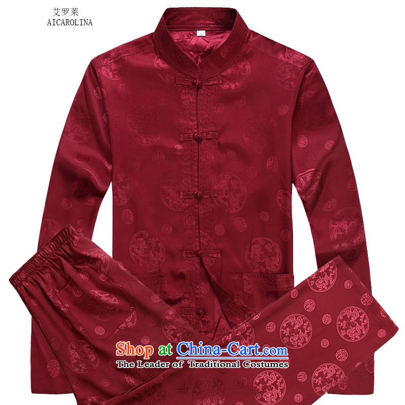 Rollet HIV from older men fall round dragon long-sleeved shirt Tang dynasty China Wind Pants Kit red kit�M