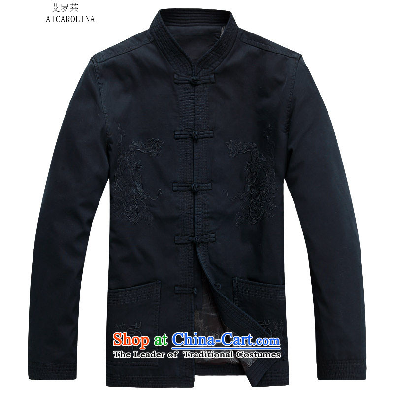 Hiv Rollet 2015 autumn and winter New Man Fu Shou long-sleeved jacket in Tang elderly men sand washing cotton Ssangyong Tang Jacket Dark Blue M