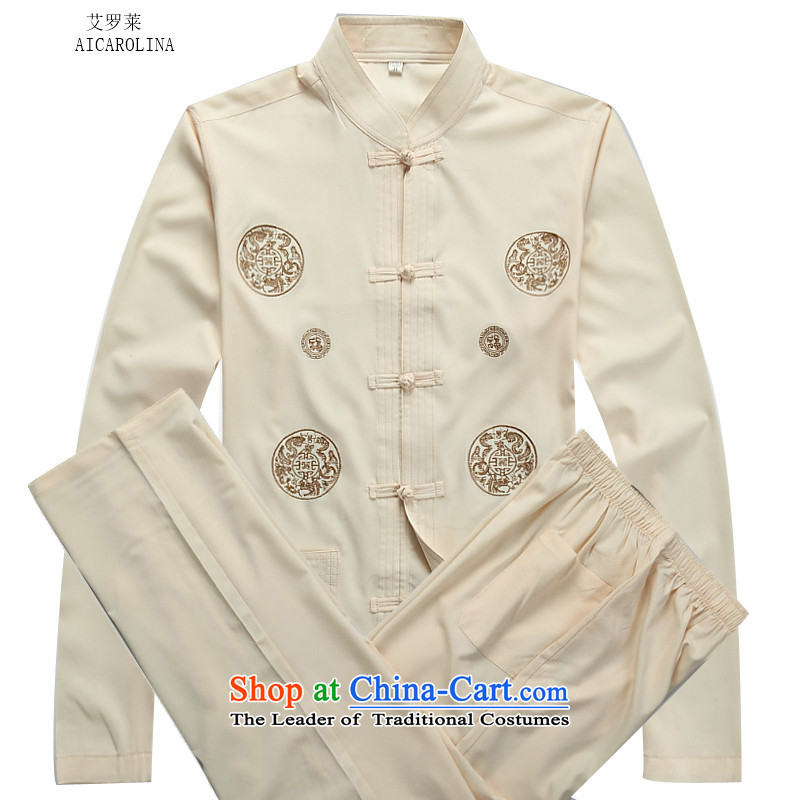 Hiv Rollet men cotton Tang Dynasty Package long-sleeved Han-men in older load dad grandpa replacing beige Kit聽L
