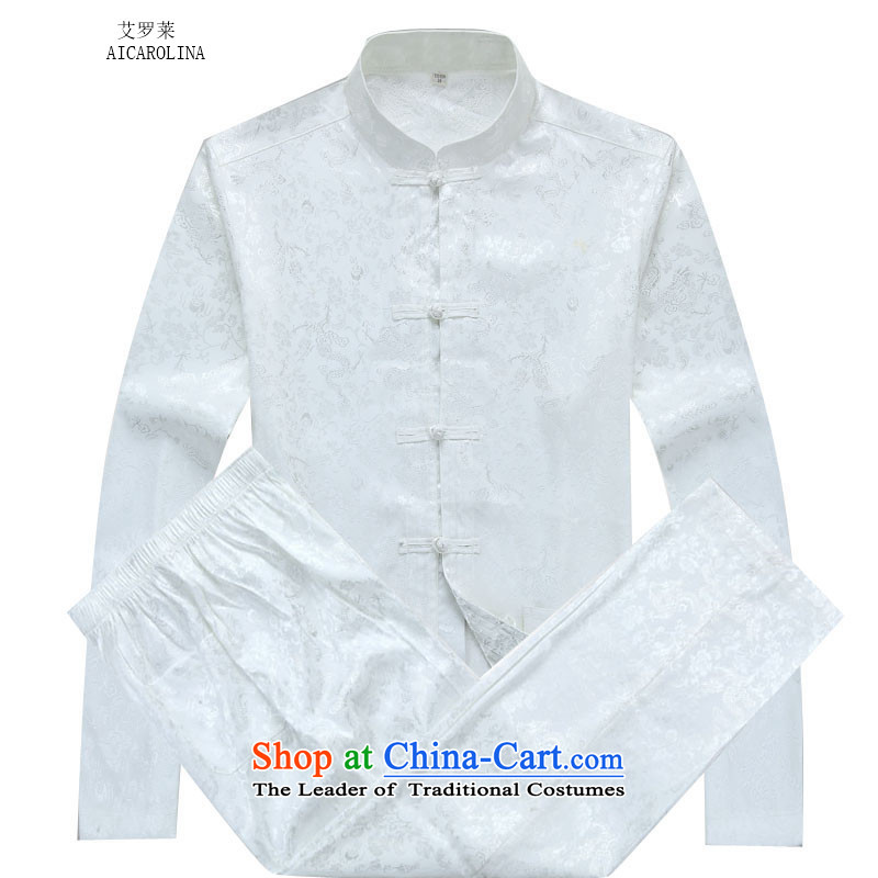 Hiv Rollet men Tang Dynasty Package Boxed dragons spend long-sleeved autumn in older clothing White聽XXL Kit