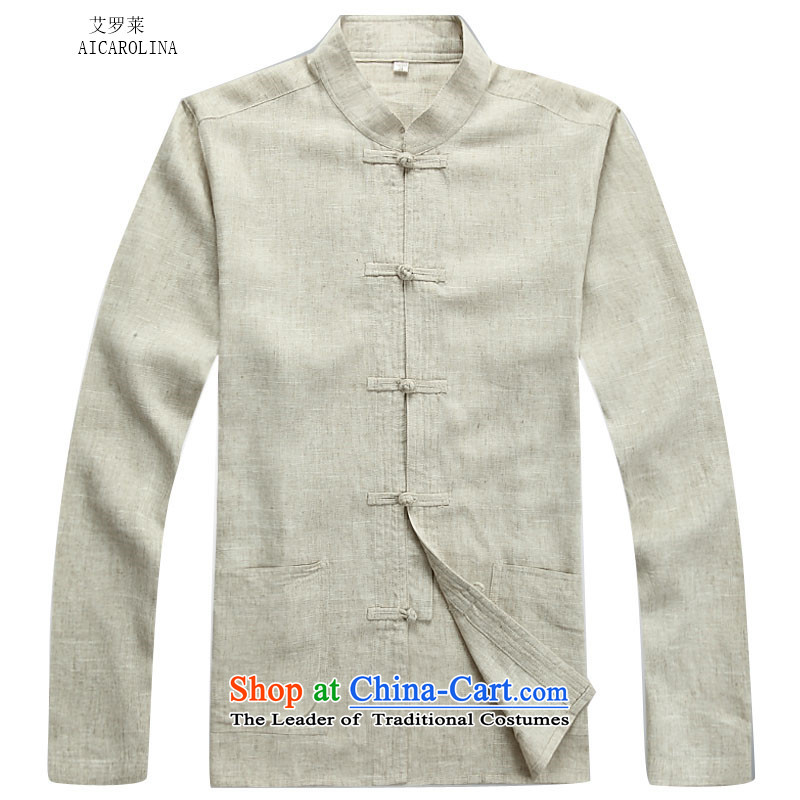 Hiv Rollet autumn and winter in Tang Dynasty Older ethnic modern Tang Dynasty Package beige sweater men聽S