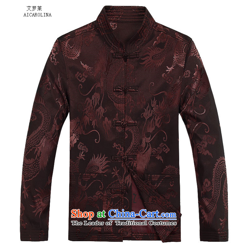 Hiv Rollet autumn and winter new products long-sleeved Kit Tang Dynasty Chinese men and Tang Dynasty Package coffee-colored T-shirt?75