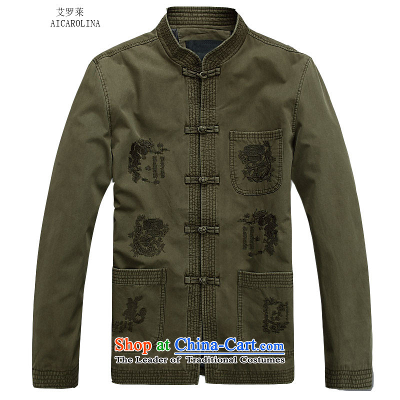 Hiv Rollet 2015 New Men Tang jackets long-sleeved shirt collar in the Spring and Autumn Period China Wind Jacket older national costumes Chinese Men's Mock-Neck聽No. 1 Color聽L