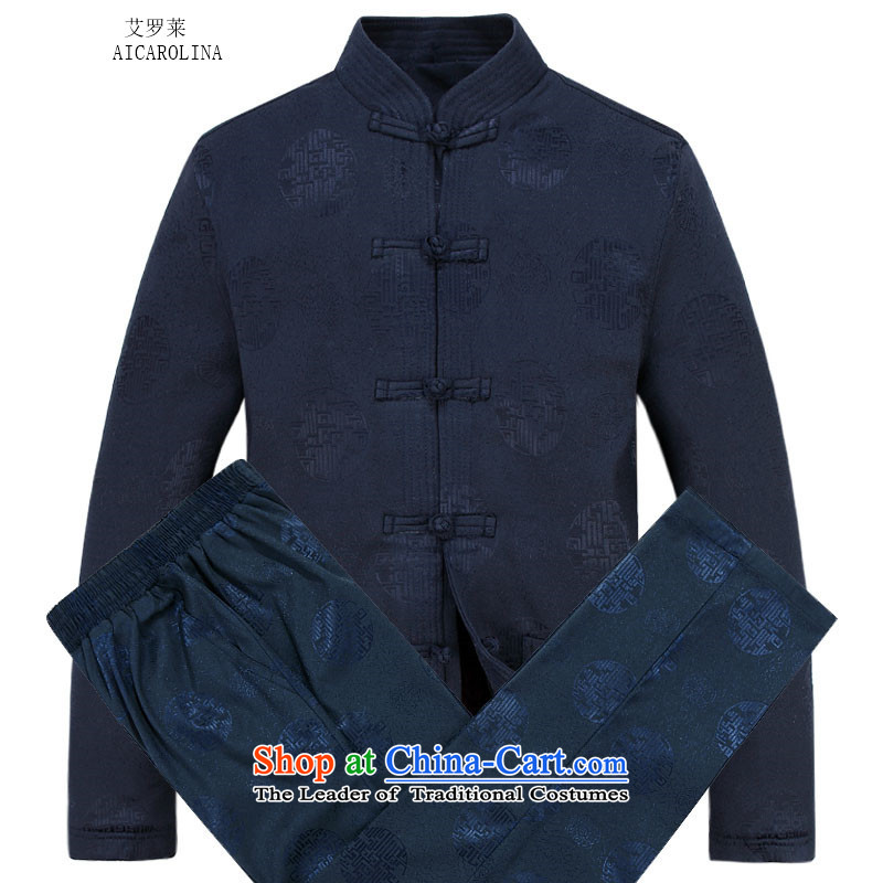 Hiv Rollet Men long-sleeved thick kit autumn and winter new products in Chinese tunic collar older Tang Dynasty Package dark blue packaged聽XXL