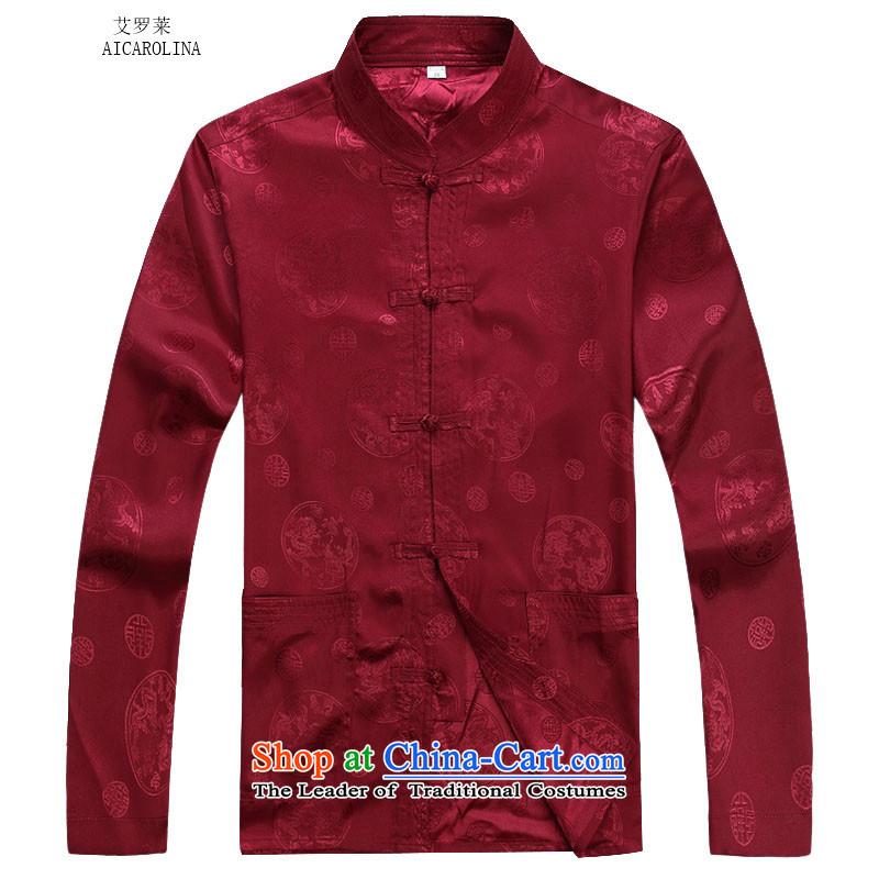 Rollet HIV from older men fall and winter long-sleeved round lung Tang dynasty China Wind Pants Shirts Kit燲XXL red T-Shirt