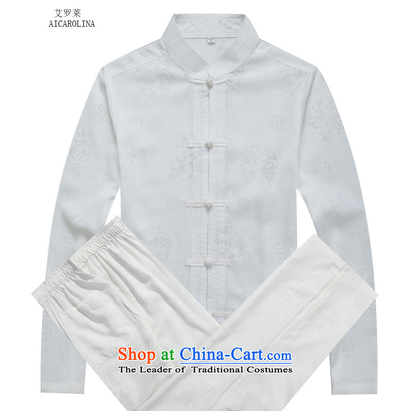 Hiv Rollet autumn and winter men Tang Dynasty Package round Ma Tang dynasty white long-sleeved kit?S