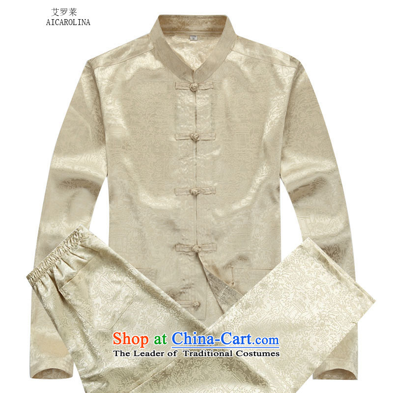 Hiv Rollet autumn and winter middle-aged men Tang dynasty China wind on the Riverside Tang Dynasty Package beige kit�M