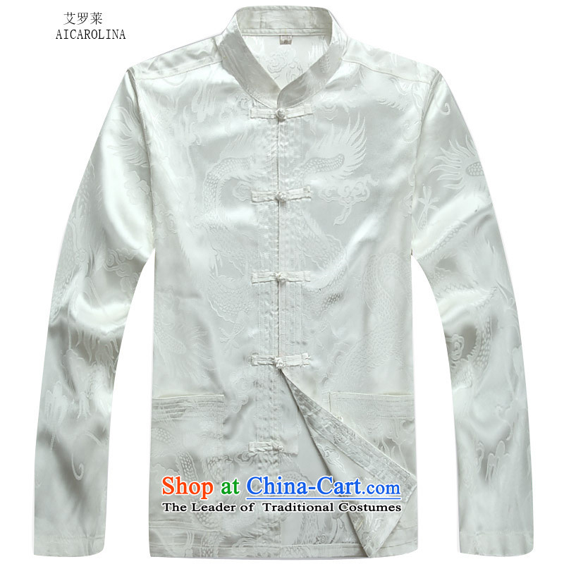 Hiv Rollet Fall/Winter Collections of older Mock-neck leisure long-sleeved Tai Lung Tang Dynasty Package xl father loose white jacket kit聽XXXL, HIV ROLLET (AICAROLINA) , , , shopping on the Internet