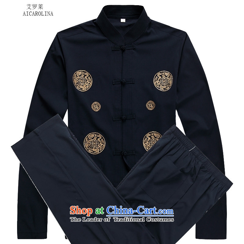 Hiv Rollet autumn and winter men thin cotton long-sleeved Tang dynasty men elderly clothing Kit Black燲L