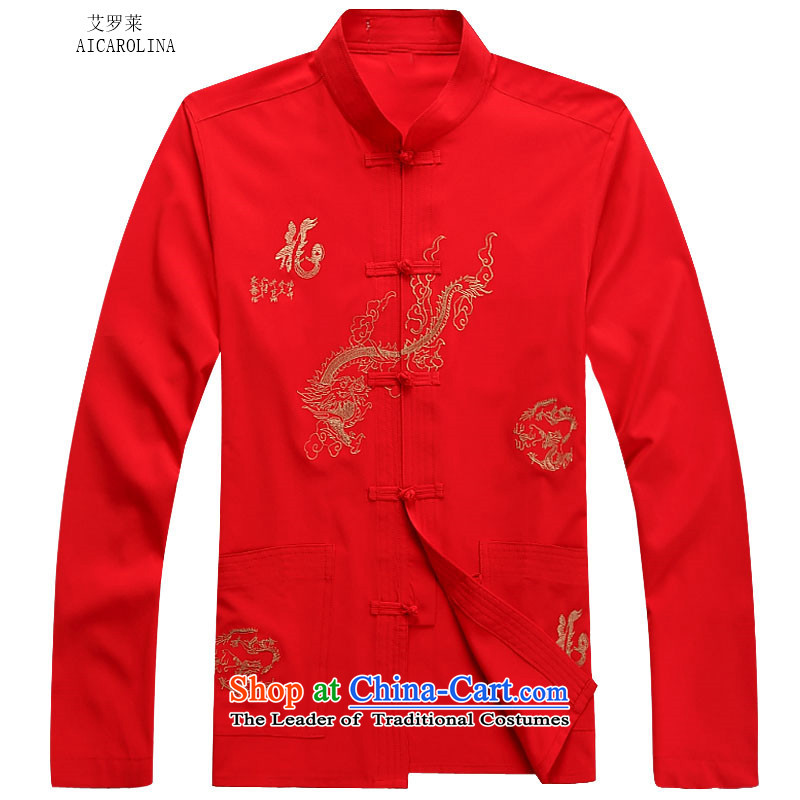 Hiv Rollet 2015 Fall/Winter Collections men Tang dynasty long-sleeved kit national costumes red T-shirt�XL