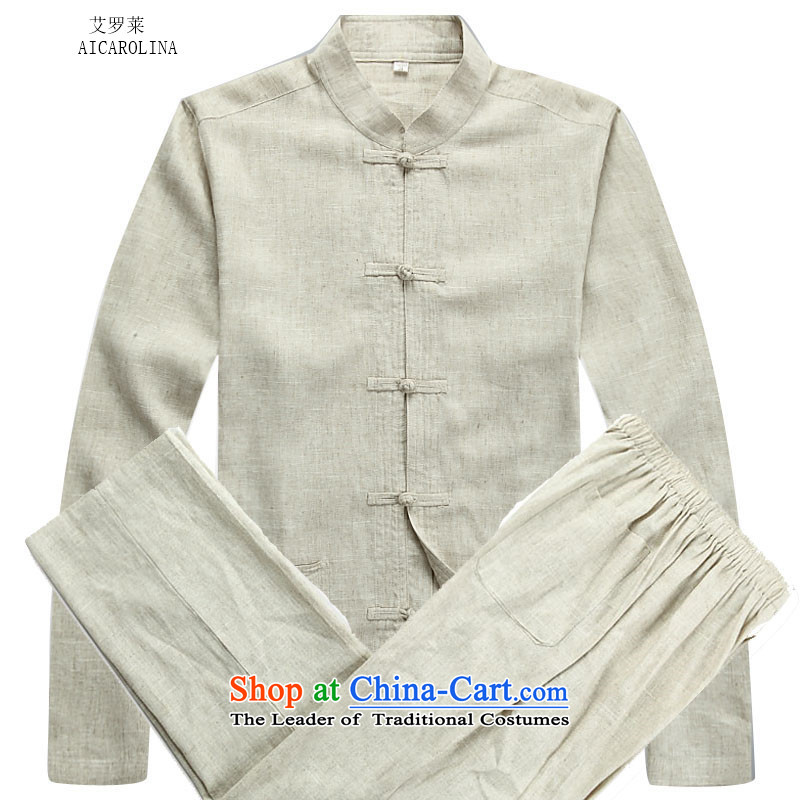 Hiv Rollet autumn and winter in Tang Dynasty Older ethnic linen long-sleeved men Tang dynasty beige kit?XXL