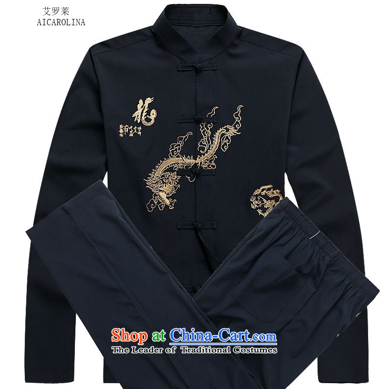 Hiv Rollet 2015 Fall/Winter Collections men Tang dynasty long-sleeved kit national costumes dark blue kit?M