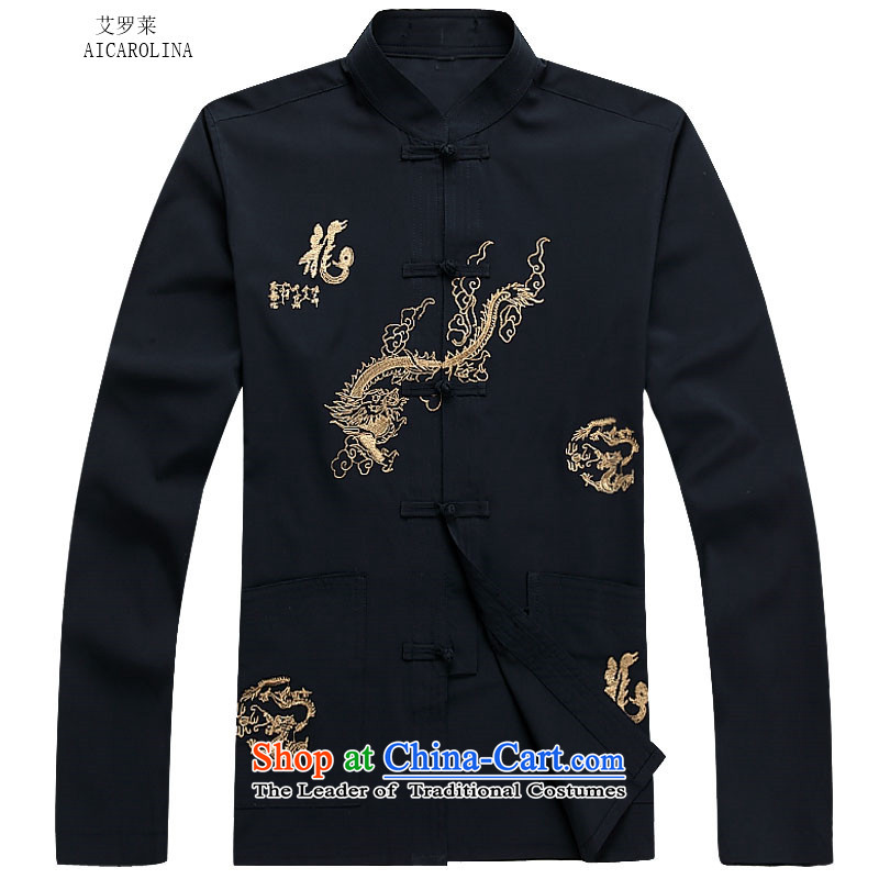 Hiv Rollet 2015 Fall/Winter Collections men Tang dynasty long-sleeved kit national costumes Dark Blue Kit聽, M, HIV (AICAROLINA ROLLET) , , , shopping on the Internet