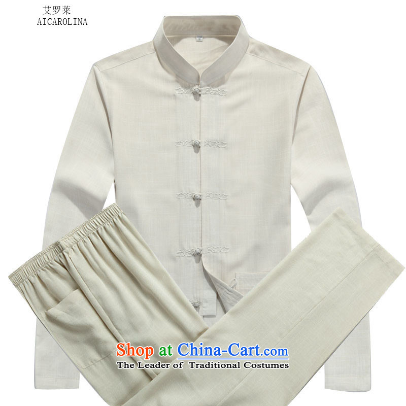 Rollet HIV from older men Tang jackets autumn and winter set long-sleeved beige Kit聽L