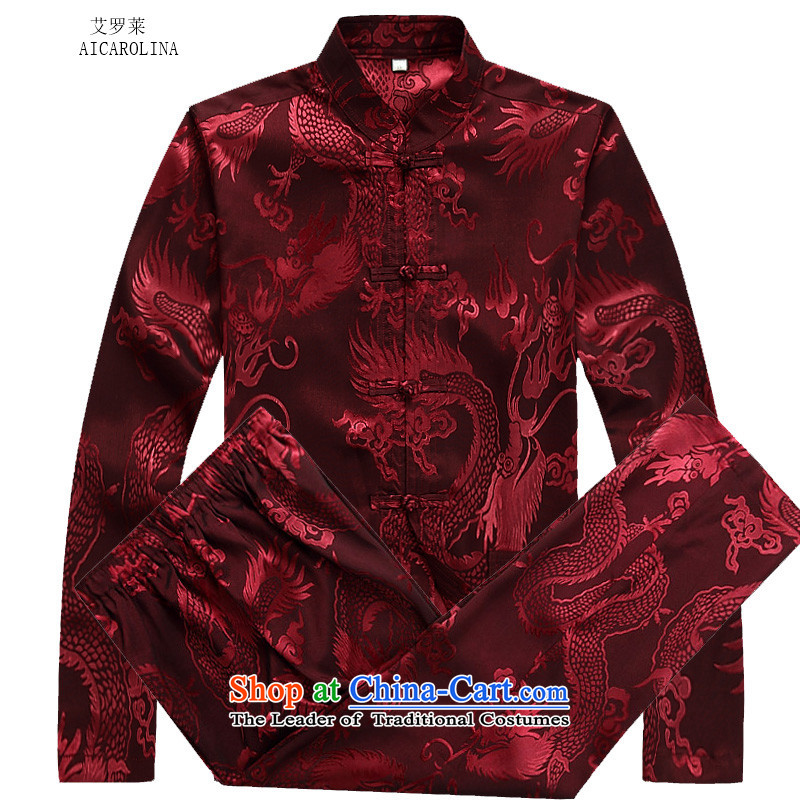 Hiv Rollet Fall_Winter Collections of older Mock-neck Tang Dynasty Recreation Suite Large Dragon long-sleeved men Tang red kit聽M