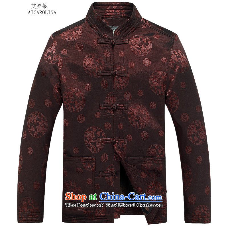 Hiv Rollet autumn and winter long sleeve jacket thick kit for larger Chinese people serving in the Dragon round older men Tang jacket coffee-colored�M