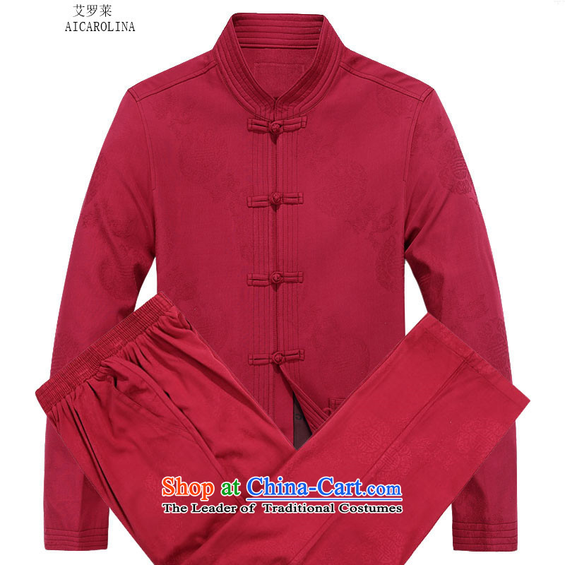Hiv Rollet 2015 Tang Dynasty Package men's autumn and winter sets long-sleeved jacket Tang Man Jacket Red Kit?70