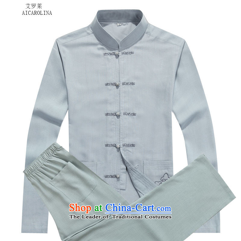 Rollet HIV from older men Tang jackets autumn and winter set long-sleeved gray suit聽XXXL