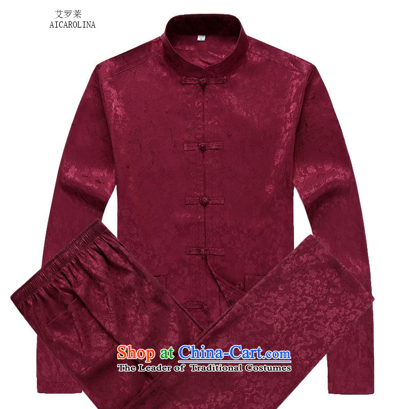 Hiv Rollet men Tang Dynasty Package autumn and winter flower in long-sleeved elderly Bruce Tang red kit?XL