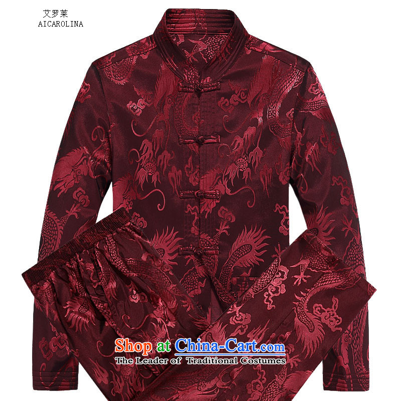 Hiv Rollet autumn and winter new products with long-sleeved Kit Tang stylish and cozy Large Dragon Chinese men and Tang Dynasty Package Red Kit?70