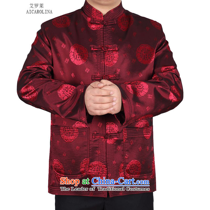 Hiv Rollet autumn and winter, older men Tang blouses loose fit well field Tang jacket燲XXL red