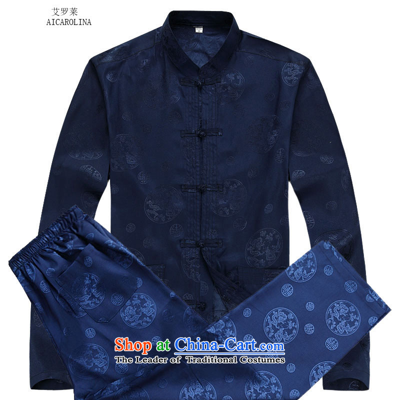 Rollet HIV from older men fall and winter long-sleeved round lung Tang dynasty China Wind Pants Shirts Kit blue kit?S