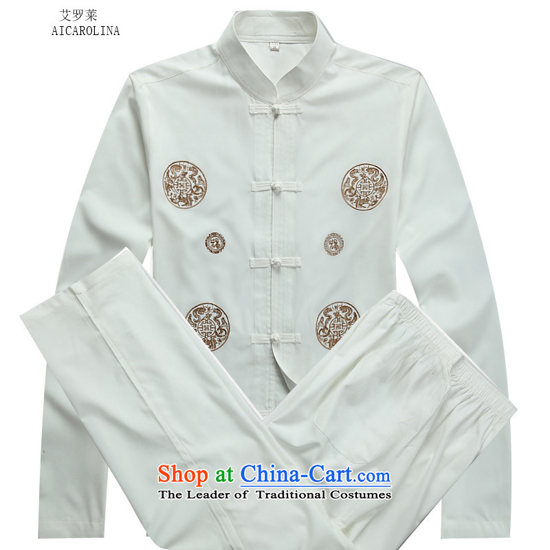 Hiv Rollet autumn and winter men thin cotton long-sleeved Tang dynasty men wearing white kit elderly kit�XL