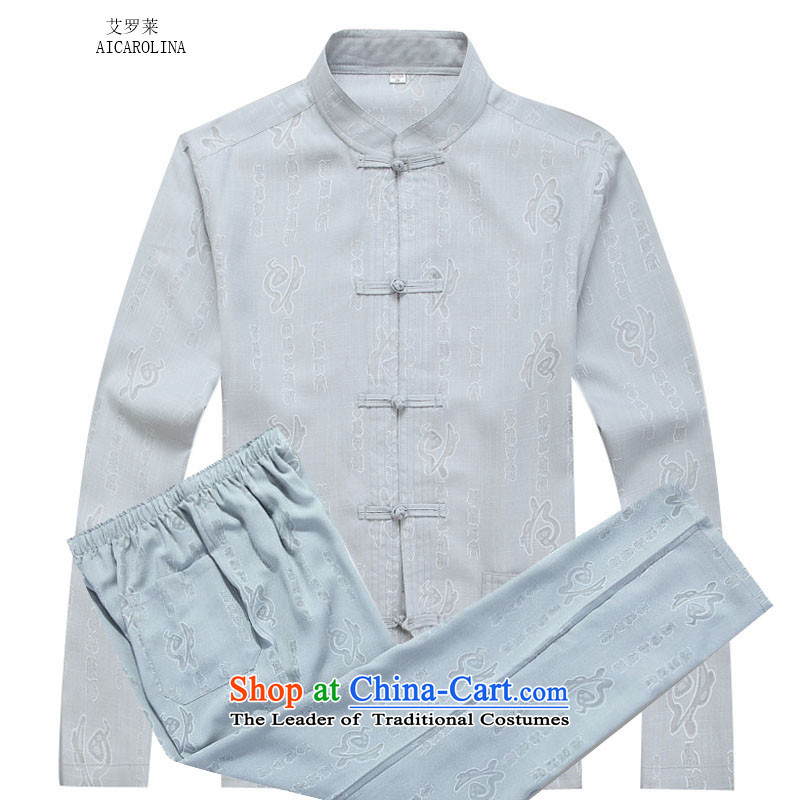 Hiv Rollet elderly services for autumn and winter ball-disc detained well Ma Tei manually long-sleeved Tang Dynasty Package gray suit聽XL
