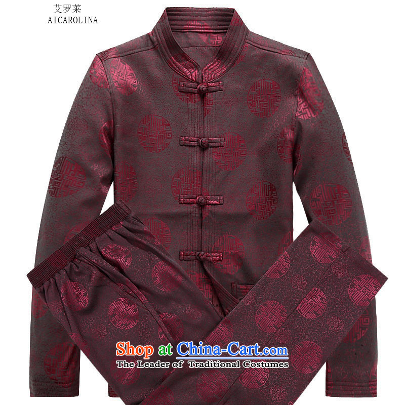 Hiv Rollet spring and autumn_, Tang dynasty older men and packaged thick millennium jacket coat Han-red kit聽XXL