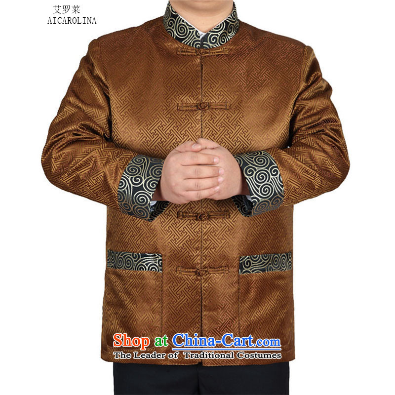 Hiv Rollet 2015 autumn and winter in the new elderly men Tang casual ethnic Tang blouses gold�XXL