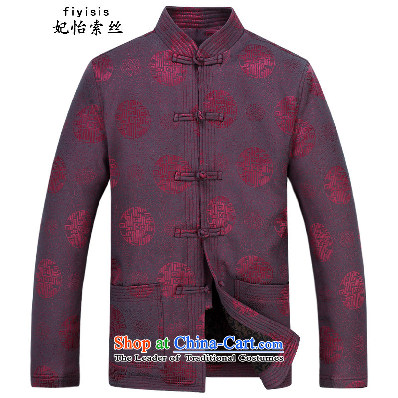 Princess Selina Chow _fiyisis autumn in New older men Tang Gown long sleeve jacket coat Chinese collar larger national costumes father replacing bourdeaux kit plus�5 Pants Shirts