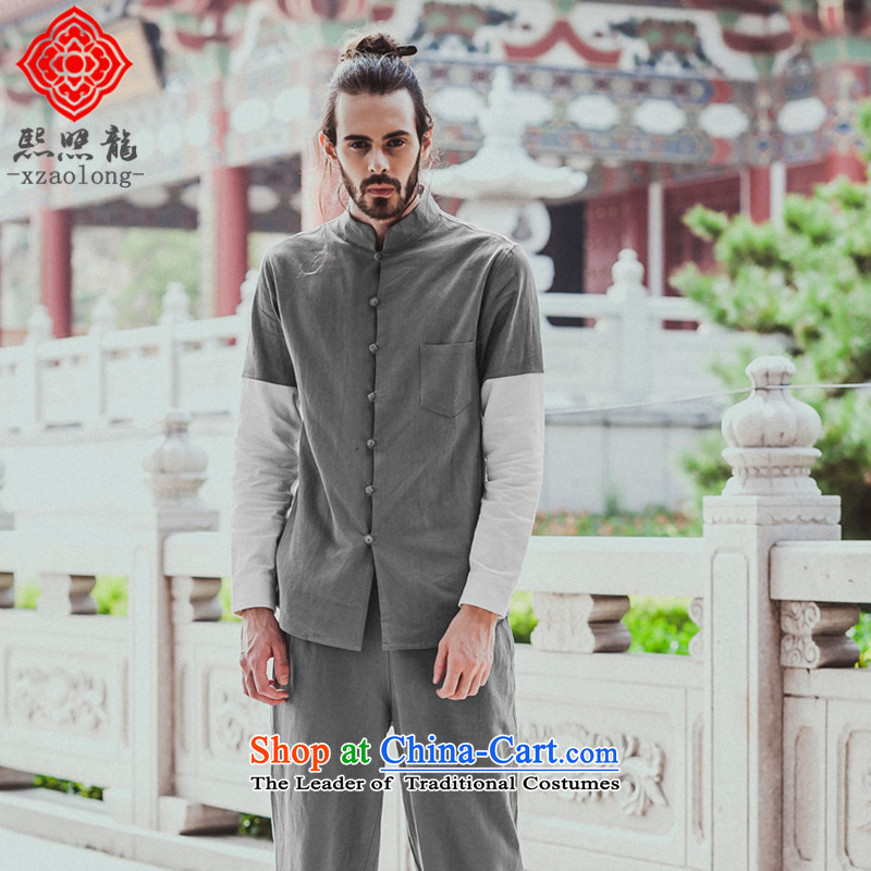 Hee-Snapshot Longxin XZAOLONG/ Chinese collar men's shirts knocked color cotton linen and Tang dynasty China wind shirt gray�XL