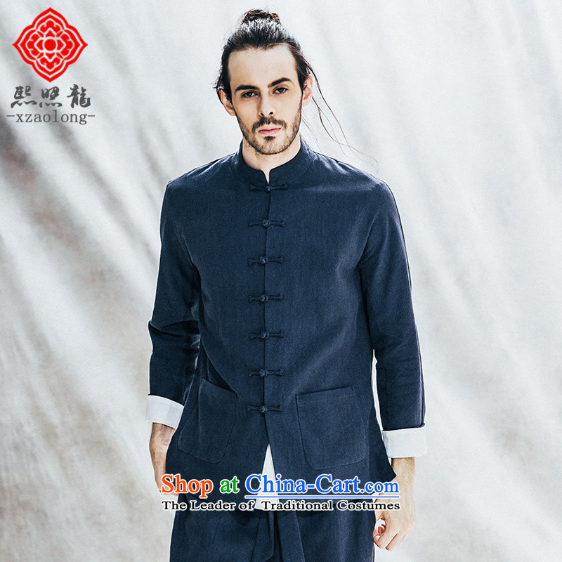 Hee-Snapshot Lung Men Tang jackets Chinese manual tray clip casual retro China wind long-sleeved shirt cotton linen autumn blue?L
