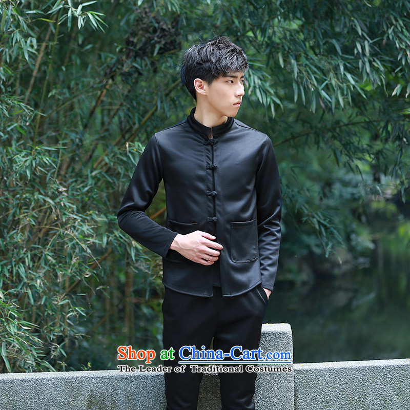 Uyuk2015 autumn and winter retro men China Wind Jacket Korean TANG Sau San disk detained classical Chinese tunic small jacket jacket wind of the sportswear black�L