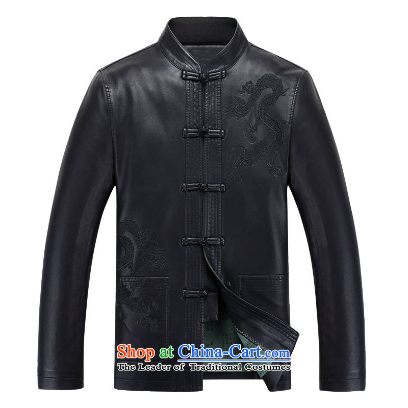New Spring and Autumn 2015 Fairview Park snowflake_ Older Tang dynasty in the installation of zhongshan plus leather jacket S806 lint-free black single leather?black velvet?175 170 Plus